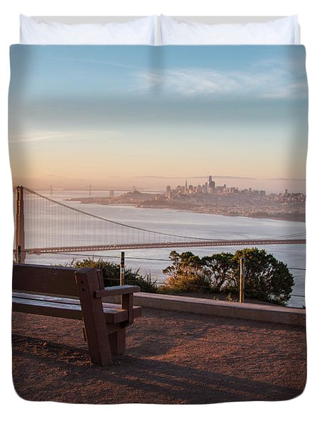 Bench Overlooking Downtown San Francisco And The Golden Gate Bri Duvet Cover