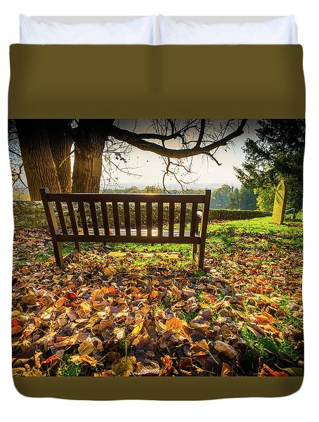 Duvet Cover featuring the photograph Bench With Autumn Leaves by Gary Gillette