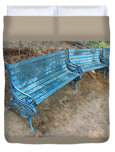 Duvet Cover featuring the photograph Benches And Blues by Prakash Ghai