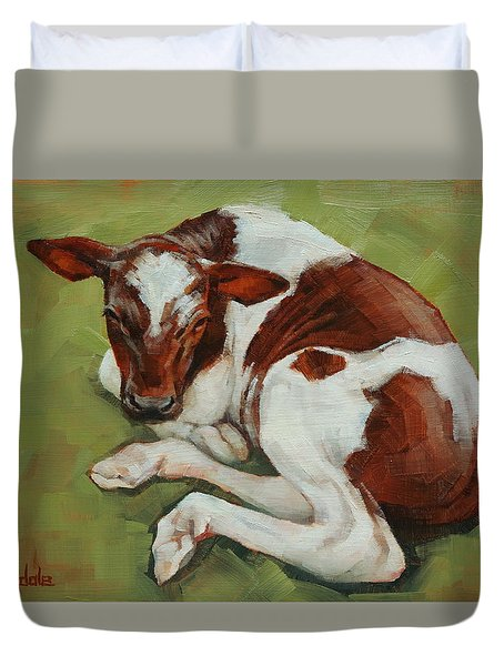 Duvet Cover featuring the painting Bendy New Calf by Margaret Stockdale