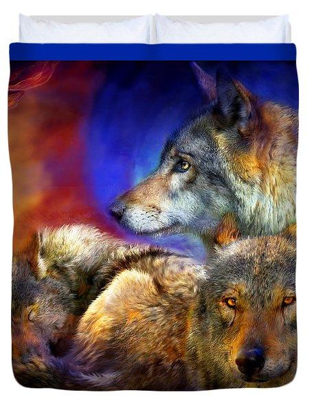 Beneath A Blue Moon Duvet Cover by Carol Cavalaris