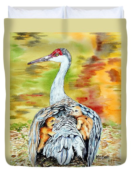 Duvet Cover featuring the painting Beneath My Wings by Maria Barry