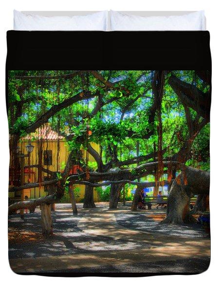 Beneath The Banyan Tree Duvet Cover by DJ Florek