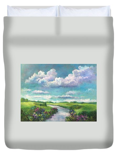 Beneath The Clouds Of Paradise Duvet Cover by Randy Burns