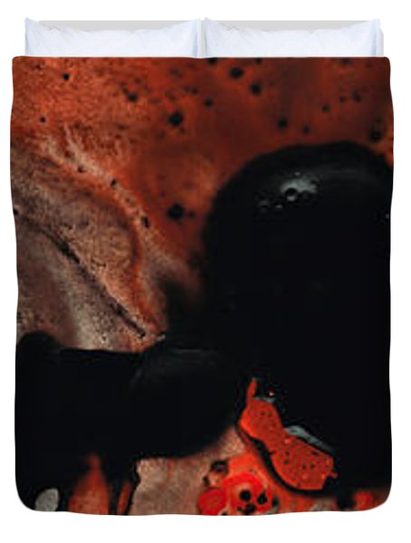 Beneath The Fire - Red And Black Painting Art Duvet Cover by Sharon Cummings