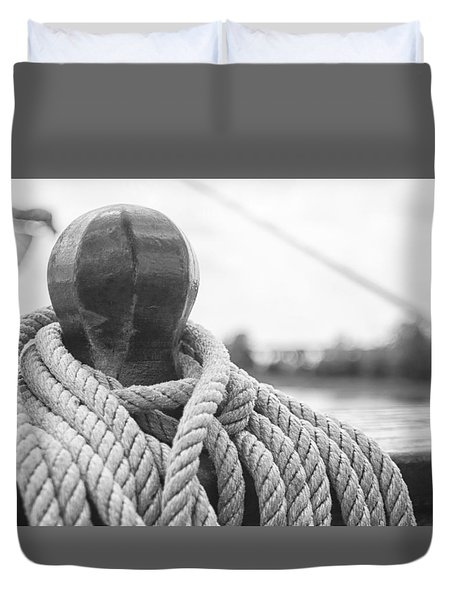 Duvet Cover featuring the photograph Beneath The Sail Coiled Rope by Bob Decker