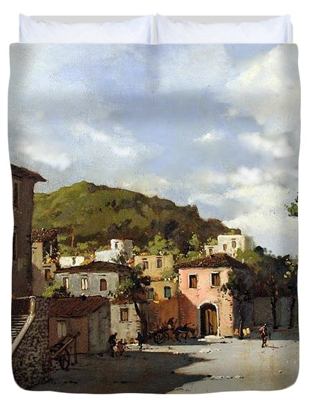 Provincia Di Benevento-italy Small Town The Road Home Duvet Cover