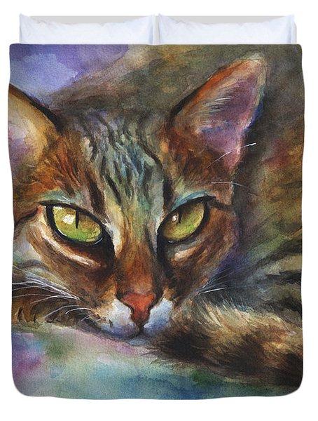 Bengal Cat Watercolor Art Painting Duvet Cover