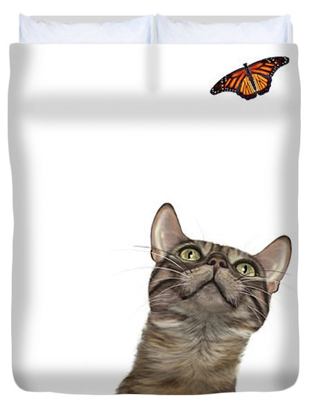 Bengal Cat With Butterfly Duvet Cover