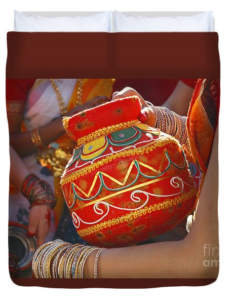 Duvet Cover featuring the photograph Bengali Maiden Dancers With Water Jars by Charline Xia