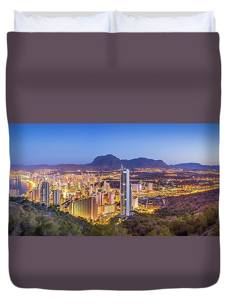 Duvet Cover featuring the photograph Benidorm At Sunrise, Spain. by Gary Gillette