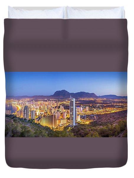 Benidorm At Sunrise, Spain. Duvet Cover