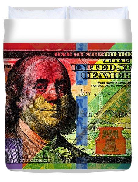 Benjamin Franklin $100 Bill - Full Size Duvet Cover