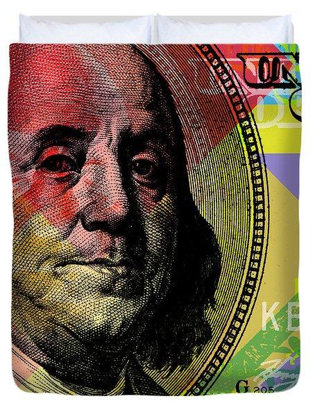 Benjamin Franklin - $100 Bill Duvet Cover