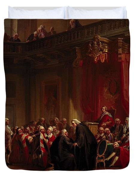 Benjamin Franklin Appearing Before The Privy Council  Duvet Cover by Christian Schussele