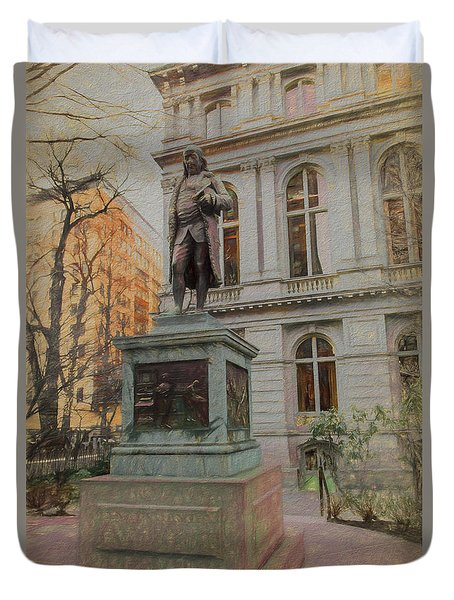 Benjamin Franklin Sketch Duvet Cover