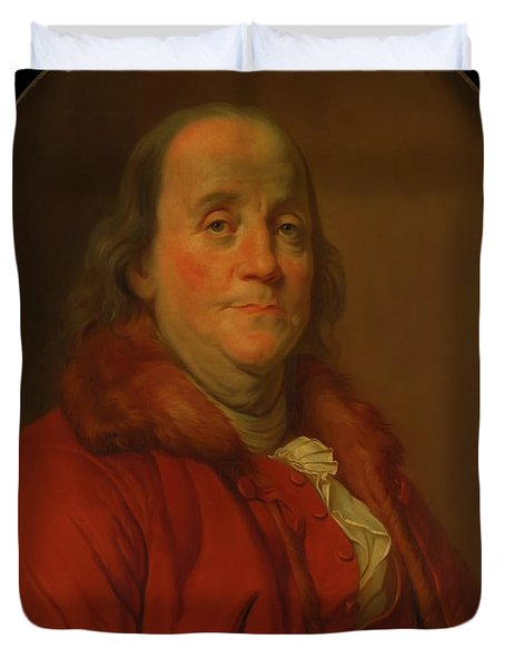 Duvet Cover featuring the painting Benjamin Franklin by Workshop Of Joseph Duplessis
