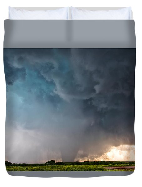 Duvet Cover featuring the photograph Bennington Kansas Tornado Structure by James Menzies