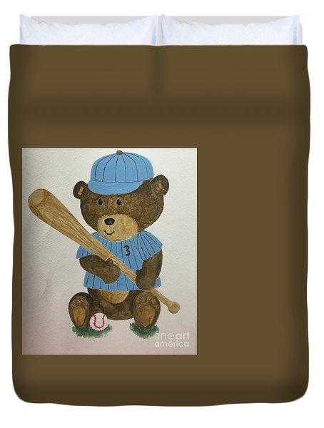 Duvet Cover featuring the painting Benny Bear Baseball by Tamir Barkan