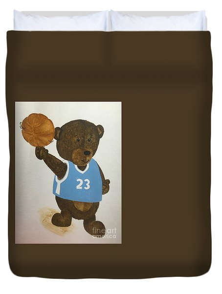 Duvet Cover featuring the painting Benny Bear Basketball  by Tamir Barkan