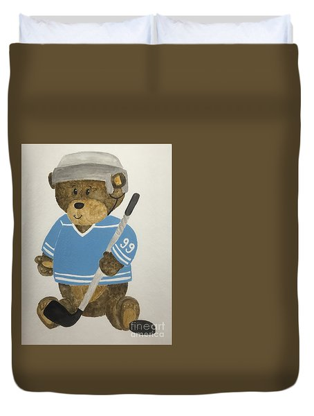 Duvet Cover featuring the painting Benny Bear Hockey by Tamir Barkan