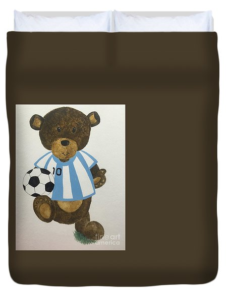 Duvet Cover featuring the painting Benny Bear Soccer by Tamir Barkan