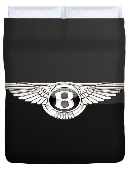 Bentley - 3 D Badge On Black Duvet Cover