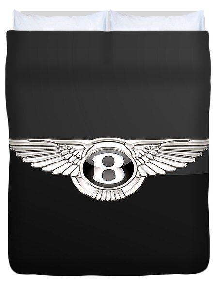 Bentley - 3 D Badge On Black Duvet Cover by Serge Averbukh