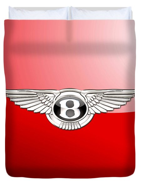 Bentley 3 D Badge On Red Duvet Cover by Serge Averbukh