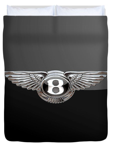 Bentley - 3d Badge On Black Duvet Cover