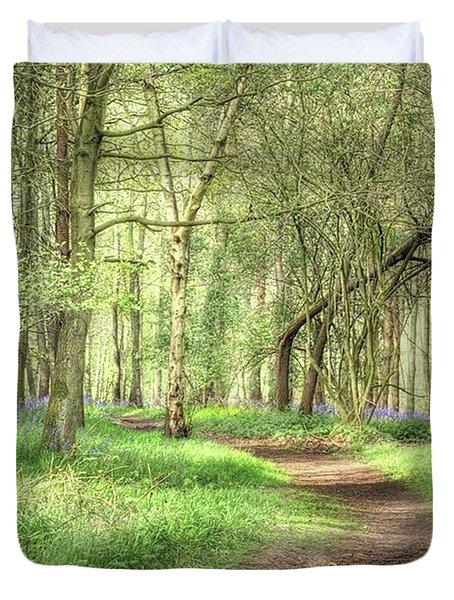 Bentley Woods, Warwickshire #landscape Duvet Cover by John Edwards