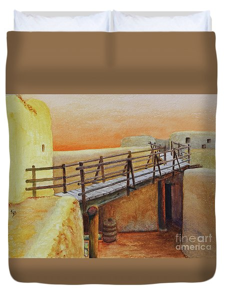 Duvet Cover featuring the painting Bent's Old Fort by Karen Fleschler