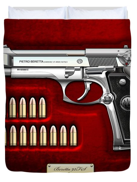 Beretta 92fs Inox Over Red Velvet Duvet Cover