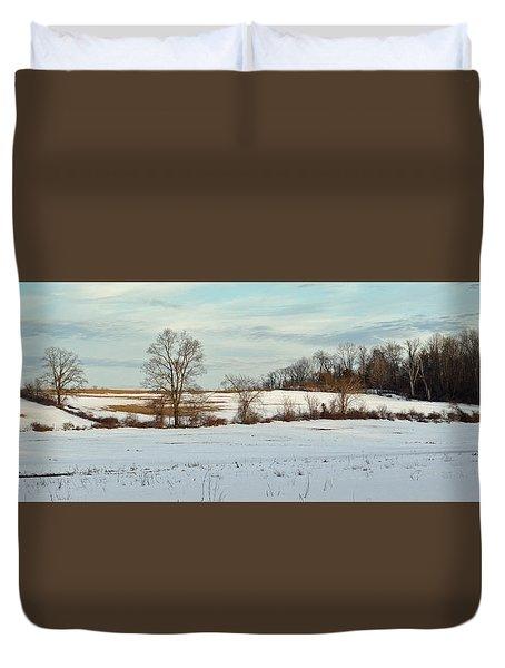Berkshire Meadow - Winter Panoramic Duvet Cover