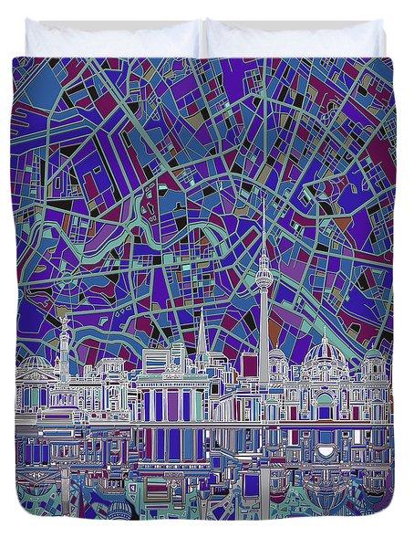 Berlin City Skyline Abstract 3 Duvet Cover by Bekim Art