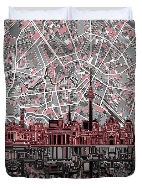 Berlin City Skyline Abstract Duvet Cover by Bekim Art