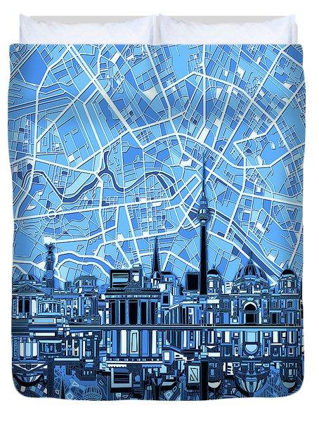 Berlin City Skyline Abstract Blue Duvet Cover by Bekim Art