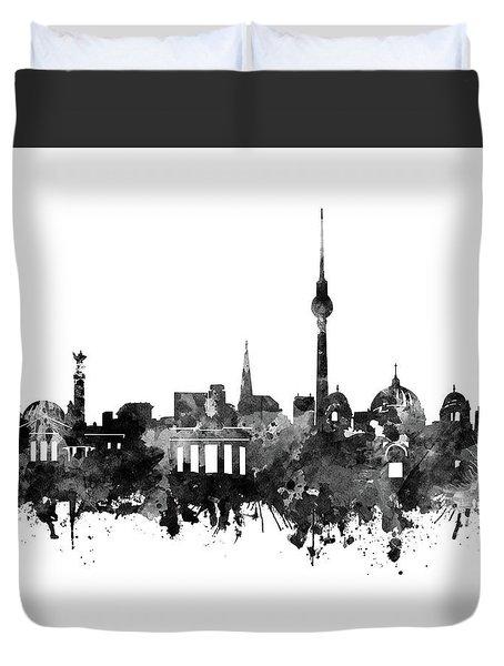 Berlin City Skyline Black And White Duvet Cover by Bekim Art