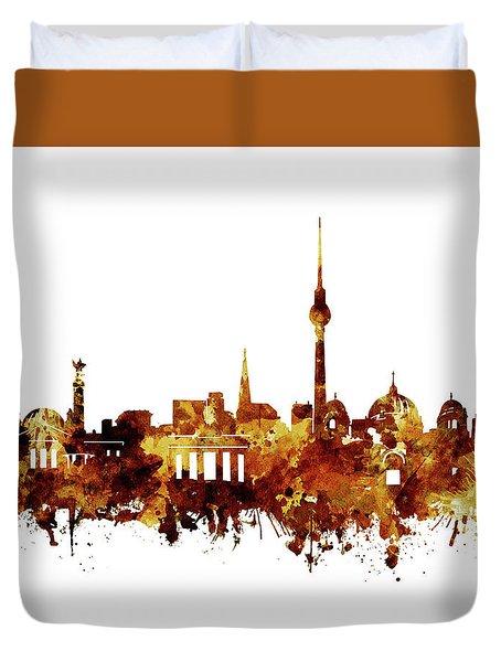 Berlin City Skyline Brown Duvet Cover by Bekim Art