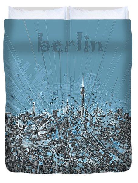 Berlin City Skyline Map 3 Duvet Cover by Bekim Art