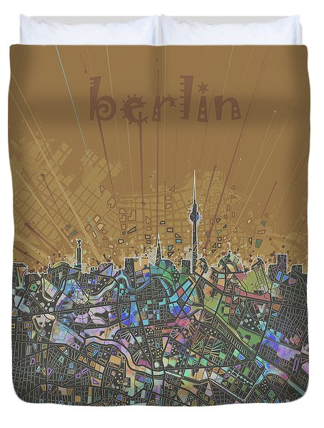 Berlin City Skyline Map 4 Duvet Cover by Bekim Art