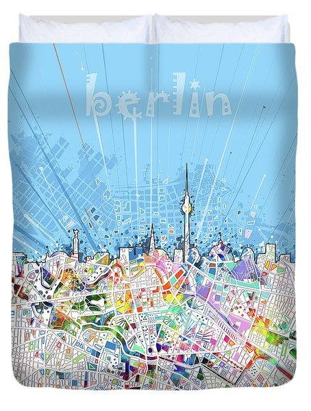 Berlin City Skyline Map Duvet Cover by Bekim Art
