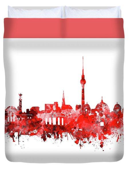 Berlin City Skyline Red Duvet Cover by Bekim Art