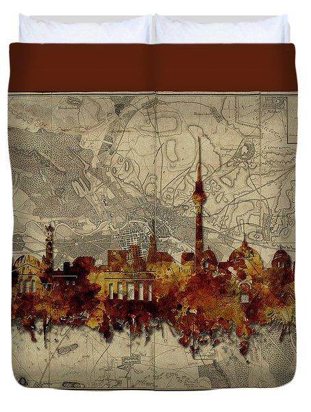 Berlin City Skyline Vintage Duvet Cover by Bekim Art
