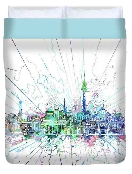 Berlin City Skyline Watercolor 3 Duvet Cover by Bekim Art