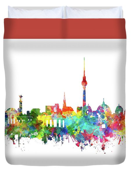Berlin City Skyline Watercolor Duvet Cover by Bekim Art