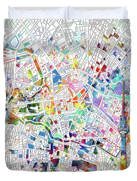 Berlin Map White Duvet Cover by Bekim Art