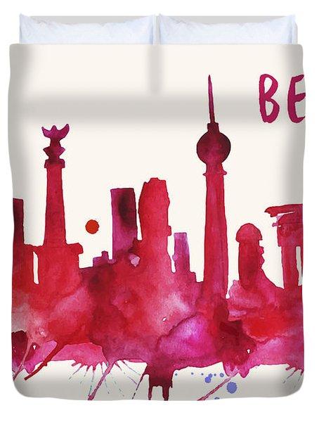 Berlin Skyline Watercolor Poster - Cityscape Painting Artwork Duvet Cover