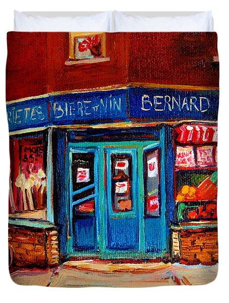 Bernard Fruit And Broomstore Duvet Cover by Carole Spandau