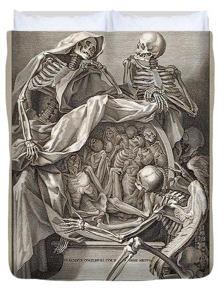 Bernardino Genga - Allegorical Emblems Of Death Duvet Cover
